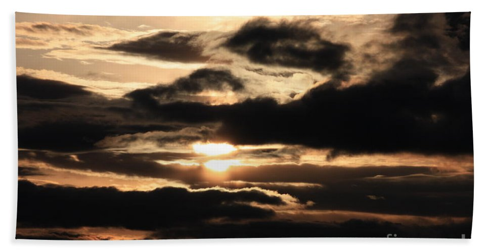 Dramatic Sunset Bath Sheet featuring the photograph Dramatic Sunset by Carol Groenen