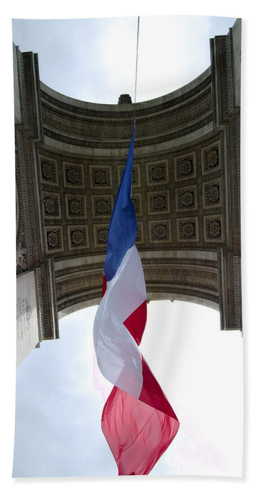 French Hand Towel featuring the photograph Drapeau Francais by Robert Ponzoni
