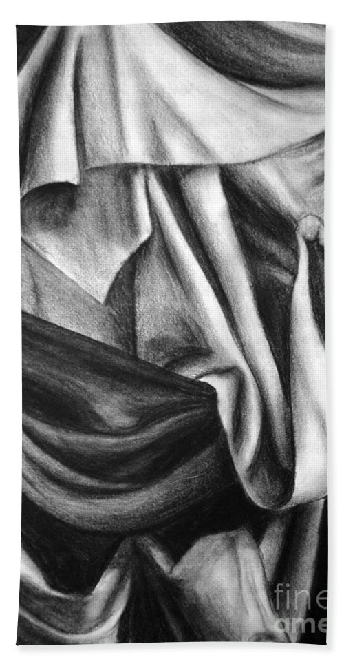 Charcoal Bath Towel featuring the drawing Drapery Still Life by Nancy Mueller