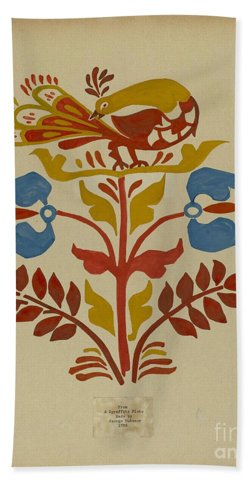 """Hand Towel featuring the drawing Drawing For Plate 4: From Portfolio """"folk Art Of Rural Pennsylvania"""" by American 20th Century"""