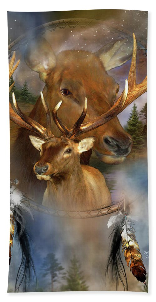 Carol Cavalaris Bath Towel featuring the mixed media Dream Catcher - Spirit Of The Elk by Carol Cavalaris
