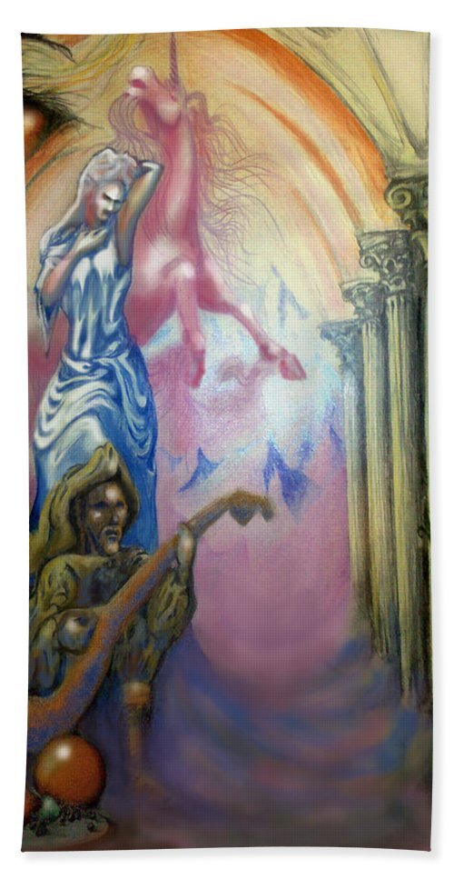 Dream Hand Towel featuring the painting Dream Image 1 by Kevin Middleton