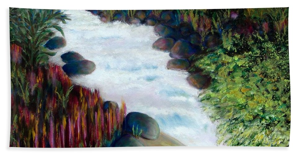 River Bath Sheet featuring the painting Dream River by Laurie Morgan
