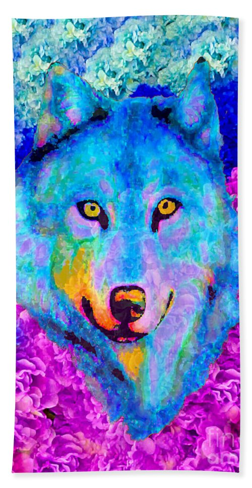 Wolf Hand Towel featuring the painting Dream Wolf by Saundra Myles