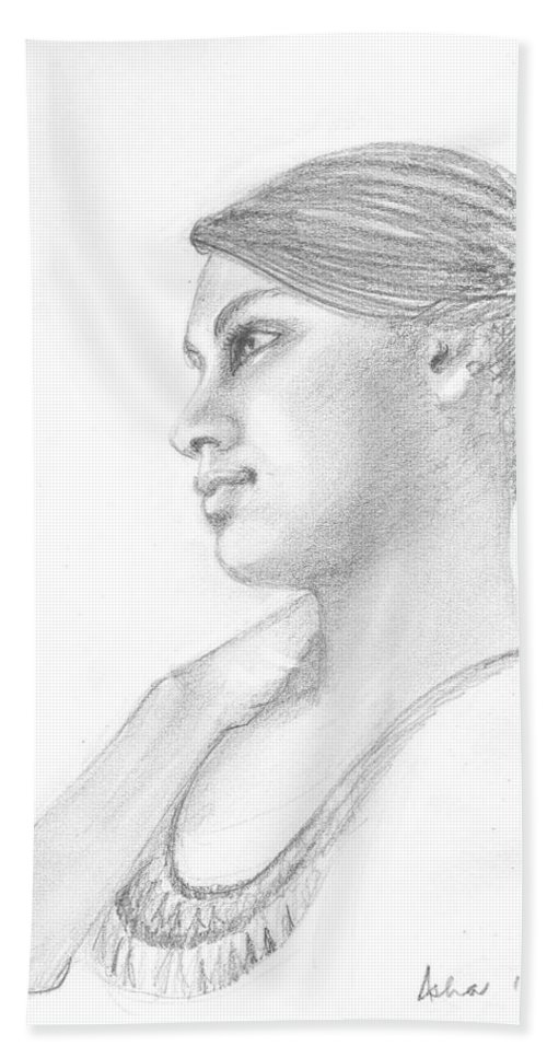 Dreamy Girl Hand Towel featuring the drawing Dreamer by Asha Sudhaker Shenoy