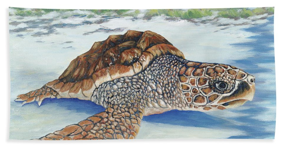 Sea Turtle Hand Towel featuring the painting Dreaming Of Islands by Danielle Perry