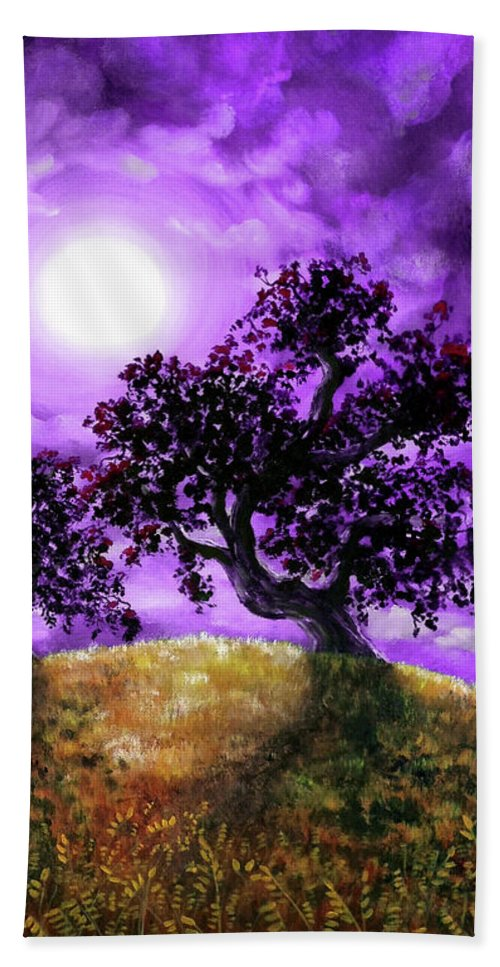 Landscape Bath Towel featuring the painting Dreaming Of Oak Trees by Laura Iverson