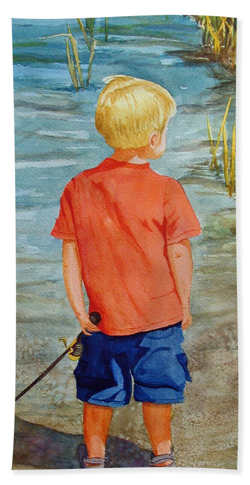 Fishing Hand Towel featuring the painting Dreaming Of The Big One by Anna Lohse