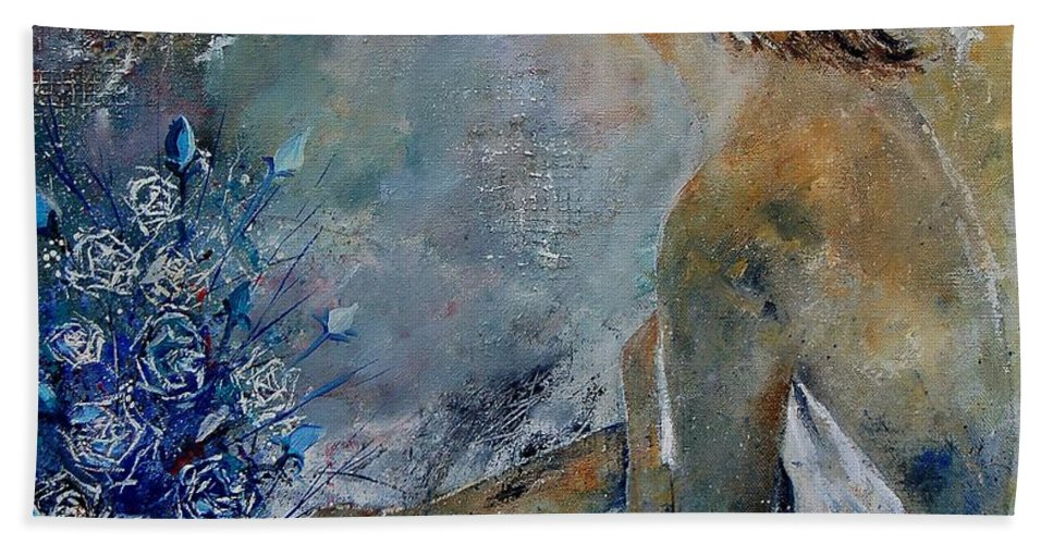 Girl Hand Towel featuring the painting Dreaming Young Girl by Pol Ledent