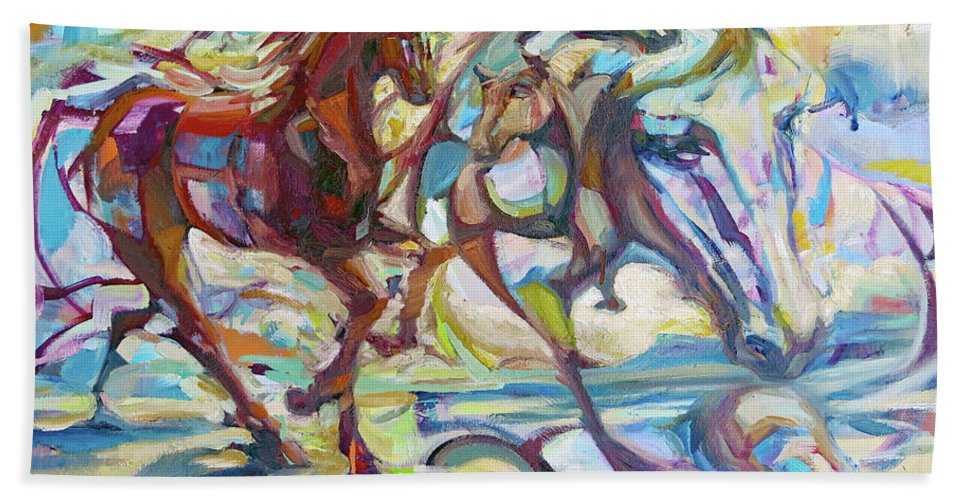 Horse Bath Sheet featuring the painting Dreamponies by Lara Branca