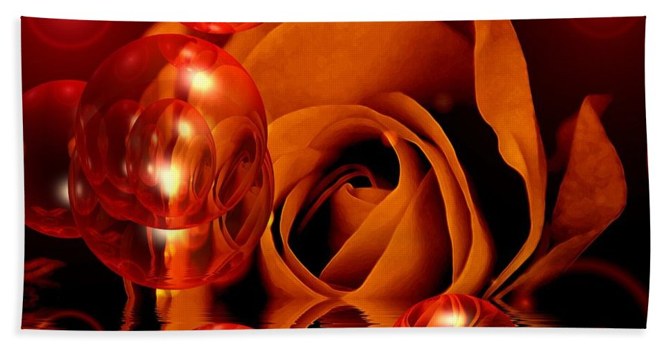 Rose Hand Towel featuring the digital art Dreams 1 - Rose by P Donovan