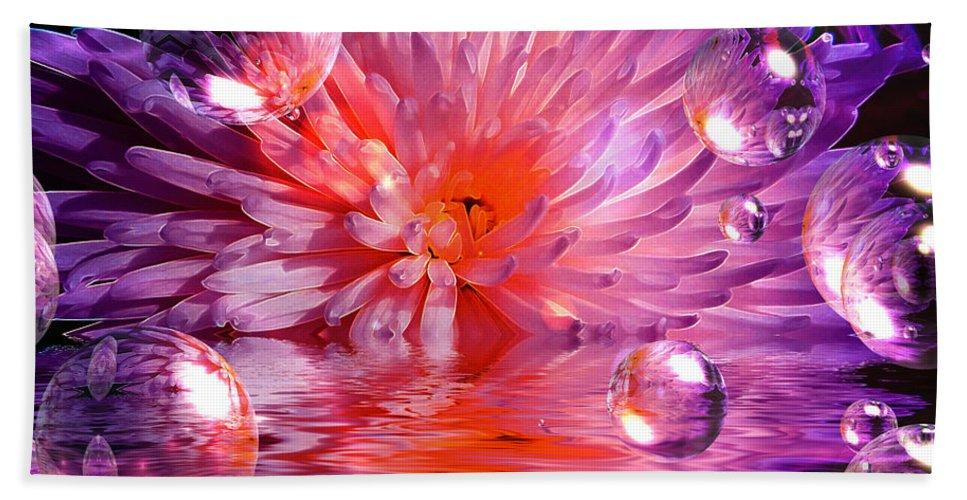 Chrysanthemum Bath Sheet featuring the mixed media Dreams 3 Chrysanthemum by P Donovan