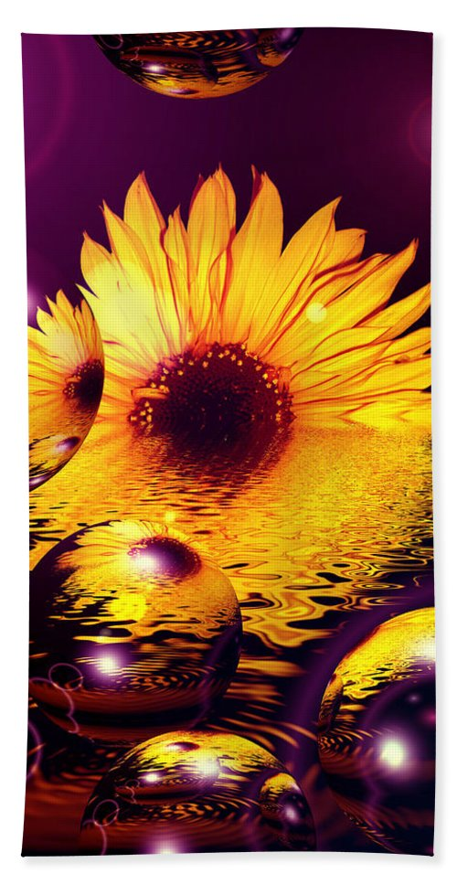 Sunflower Bath Sheet featuring the digital art Dreams 4 - Sunflower by P Donovan