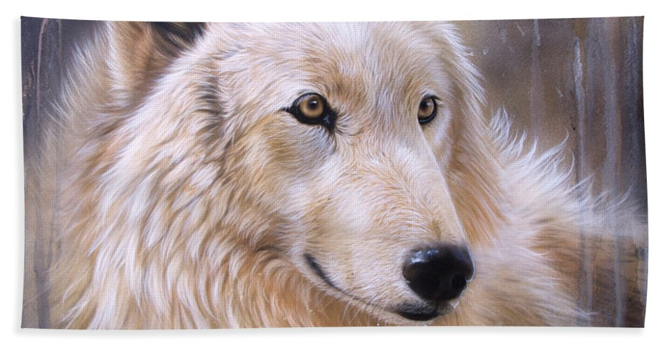 Wolf Arctic Bath Sheet featuring the painting Dreamscape - Wolf II by Sandi Baker