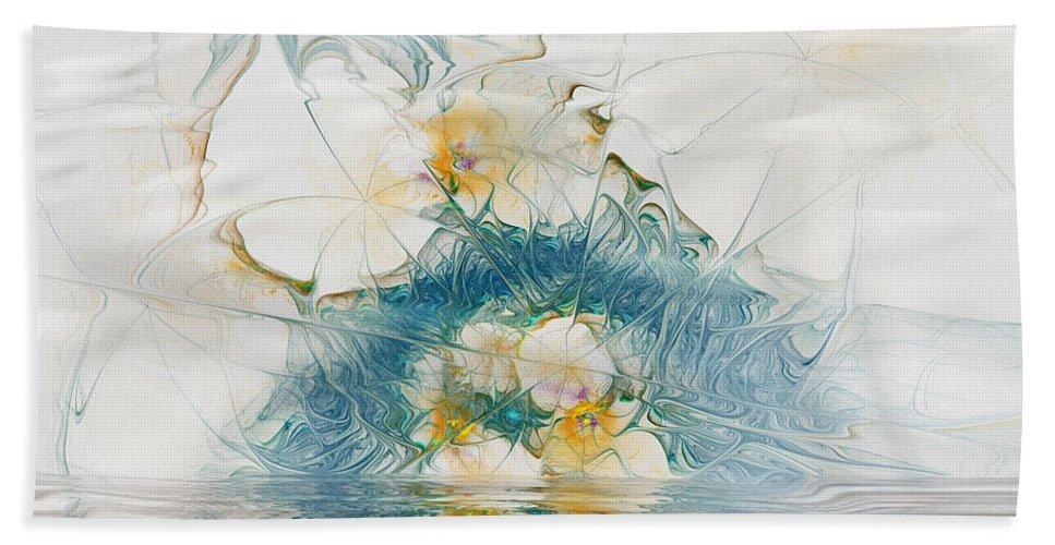 Fractal Hand Towel featuring the digital art Dreamy World In Blue by Deborah Benoit