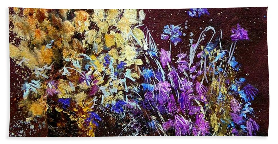 Flowers Bath Towel featuring the painting Dried Flowers by Pol Ledent