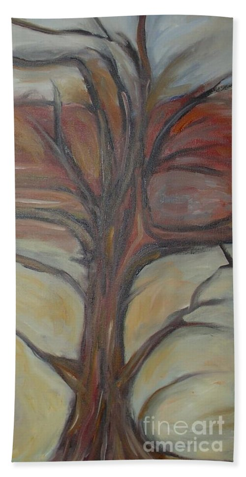 Woods Tree Abstract Original Painting Winter Bath Sheet featuring the painting Drift by Leila Atkinson