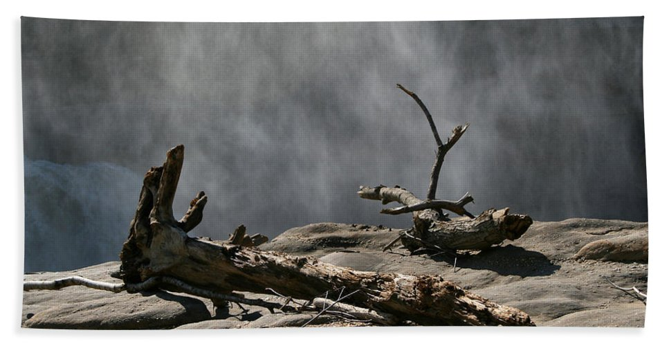 Wood Drift Driftwood Rock Mist Waterfall Nature Sun Sunny Waterful Glow Rock Old Aged Bath Towel featuring the photograph Driftwood by Andrei Shliakhau