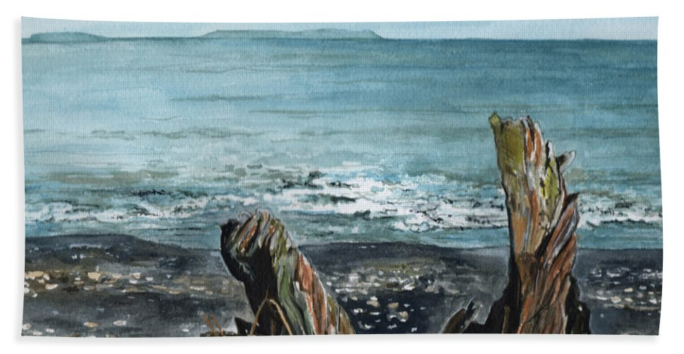 Watercolor Hand Towel featuring the painting Driftwood by Brenda Owen