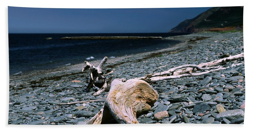 Weathered Driftwood Hand Towel featuring the photograph Driftwood On Rocky Beach by Sally Weigand