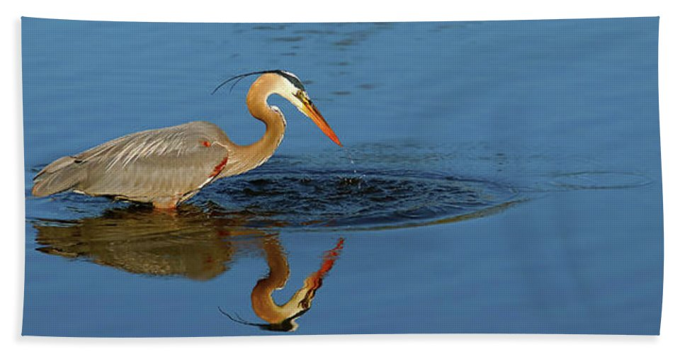 Heron Hand Towel featuring the photograph Drink by Tony Umana