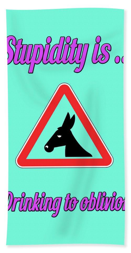 Funny Bath Sheet featuring the digital art Drinking Bigstock Donkey 171252860 by Mitchell Watrous