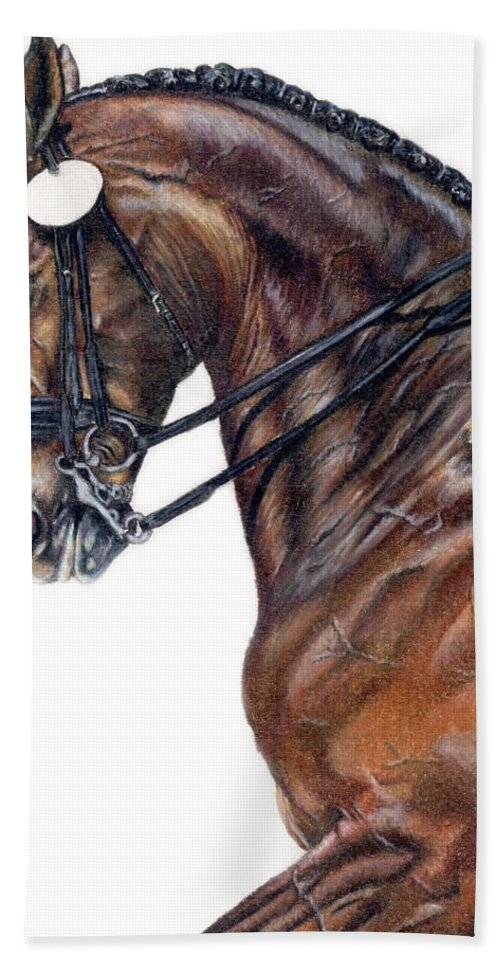 Horse Hand Towel featuring the drawing Driven by Kristen Wesch