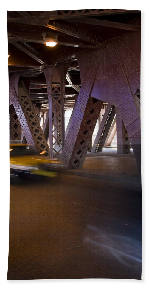 Chicago Windy City Bridge Steel Metal Taxi Street Road Fast Metro Urban Bath Towel featuring the photograph Driving Fast by Andrei Shliakhau