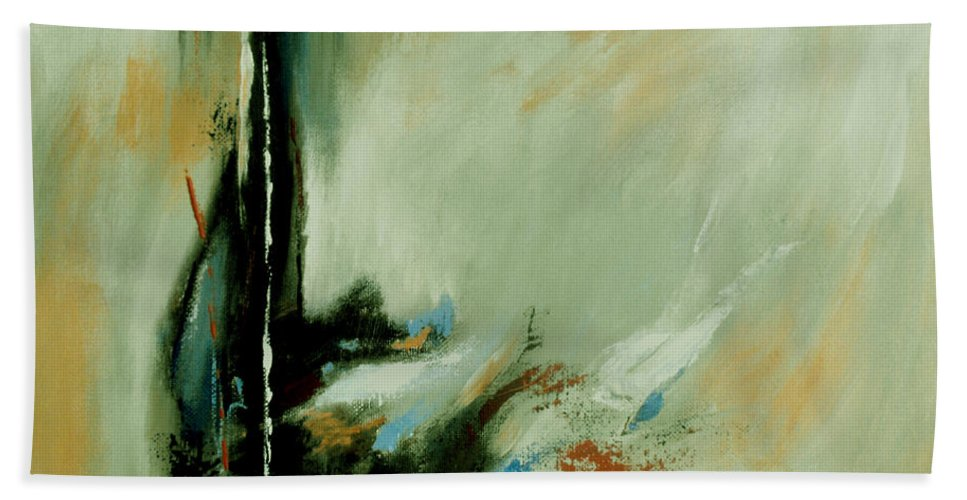 Abstract Bath Sheet featuring the painting Drowning by Ruth Palmer