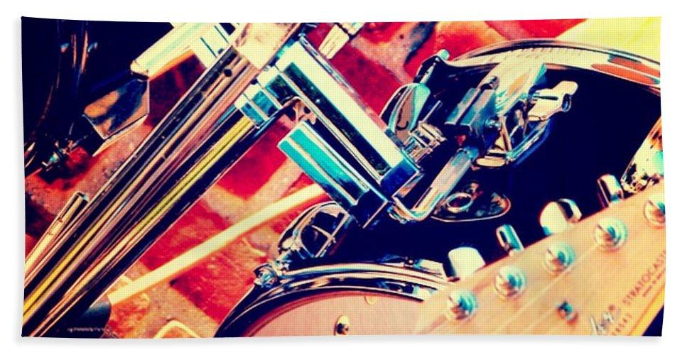 Brandi Fitzgerald Hand Towel featuring the digital art Drum Set by Brandi Fitzgerald
