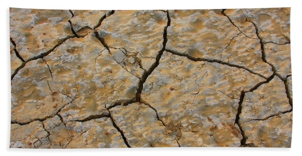 Cracks Hand Towel featuring the photograph Dry Cracked Lake Bed by James BO Insogna