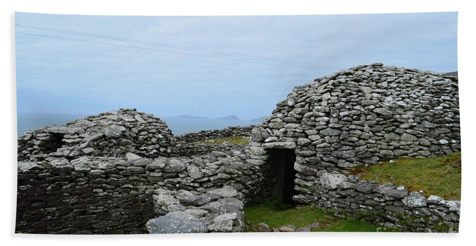 Beehive Hut Hand Towel featuring the photograph Dry-stone Beehive Huts In Ireland by DejaVu Designs