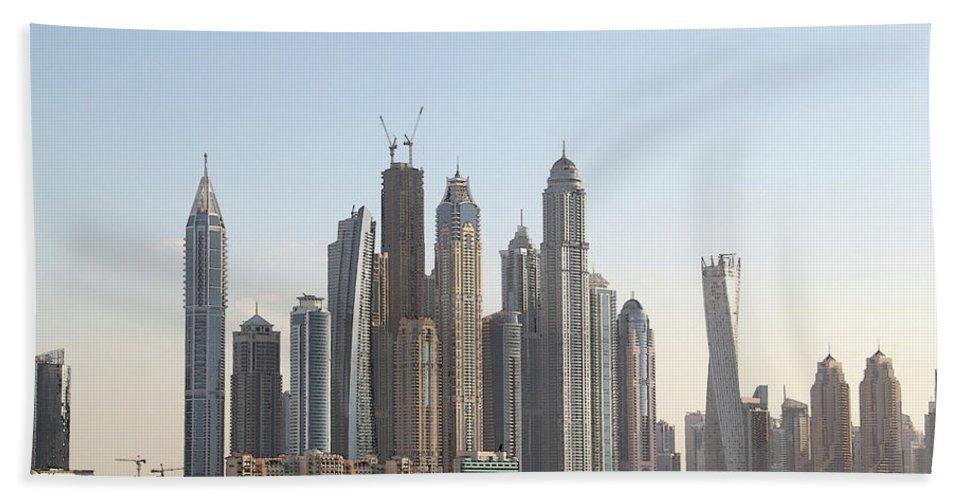 City Bath Towel featuring the digital art Dubai City Skyline by Sandeep Gangadharan