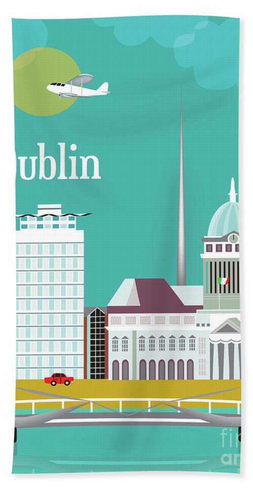 Dublin Bath Sheet featuring the digital art Dublin Ireland Vertical Scene by Karen Young