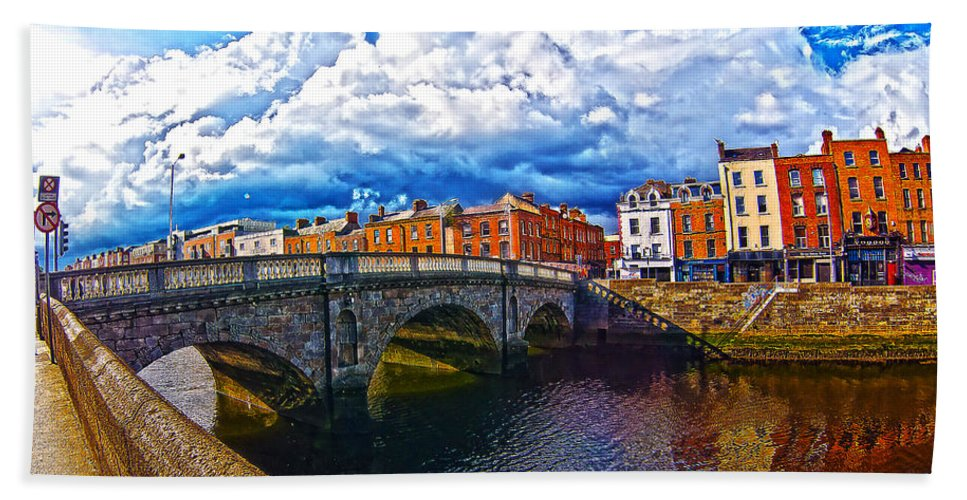 The Four Courts In Reconstruction Hand Towel featuring the photograph Dublin's Fairytales Around Grattan Bridge 2 by Alex Art and Photo