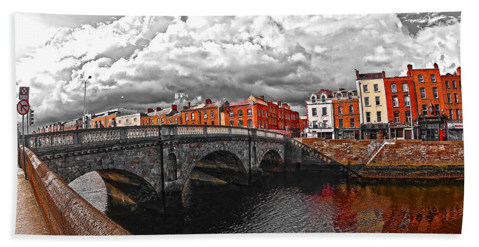 The Four Courts In Reconstruction Hand Towel featuring the photograph Dublin's Fairytales Around Grattan Bridge 2 V3 by Alex Art and Photo