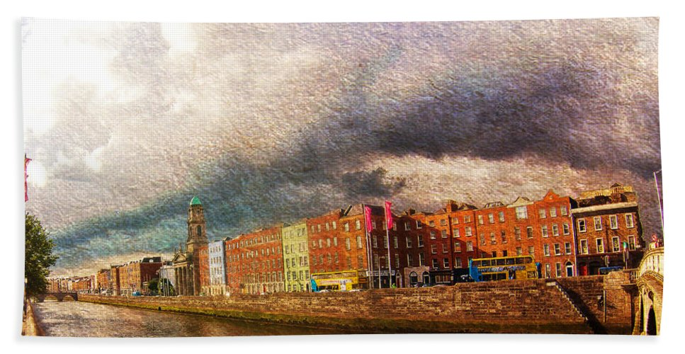 James Joyce Bridge Hand Towel featuring the photograph Dublin's Fairytales Around River Liffey 2 by Alex Art and Photo
