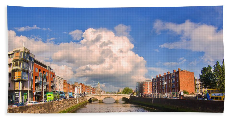 Dublin Hand Towel featuring the photograph Dublin's Fairytales Around River Liffey by Alex Art and Photo