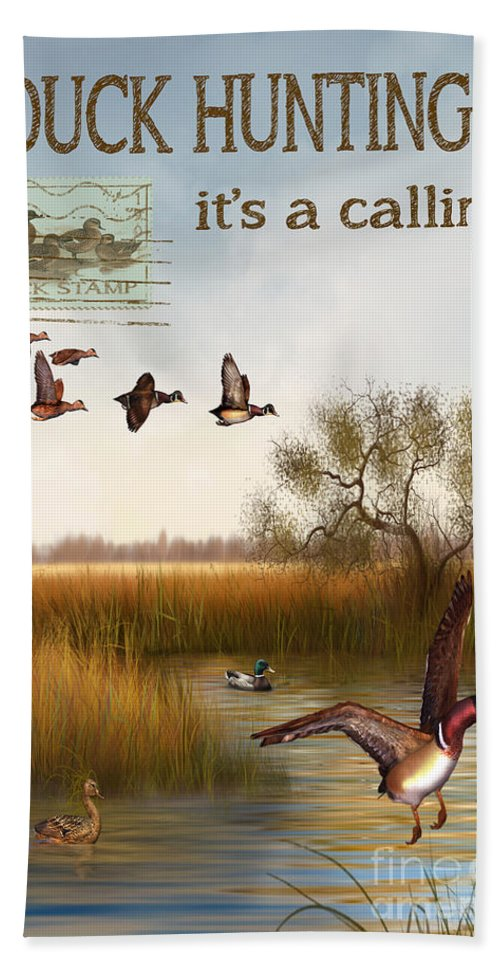 Jjean Plout Bath Sheet featuring the painting Duck Hunting-jp2783 by Jean Plout