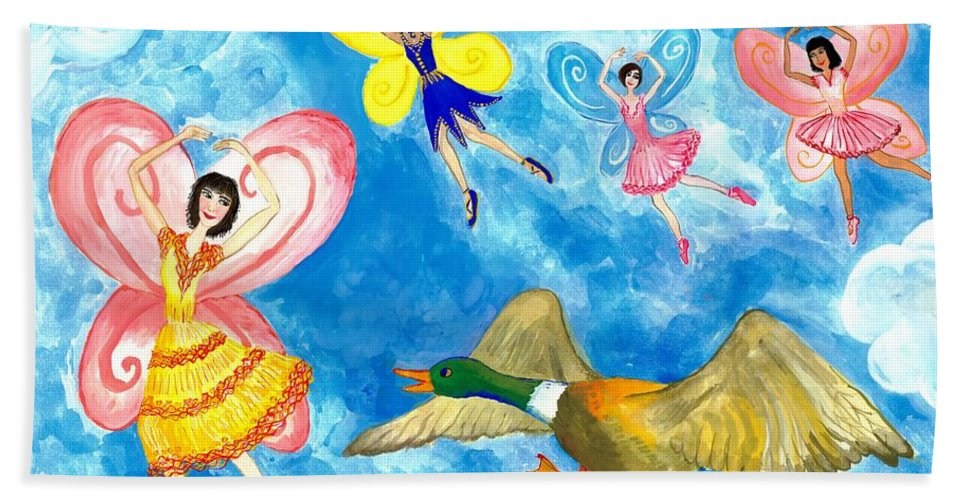 Sue Burgess Hand Towel featuring the painting Duck Meets Fairy Ballet Class by Sushila Burgess