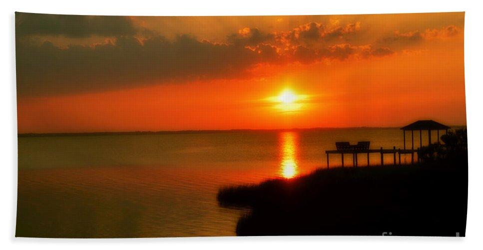 Obx Bath Sheet featuring the photograph Duck Sunset Outer Banks North Carolina by Randy Steele