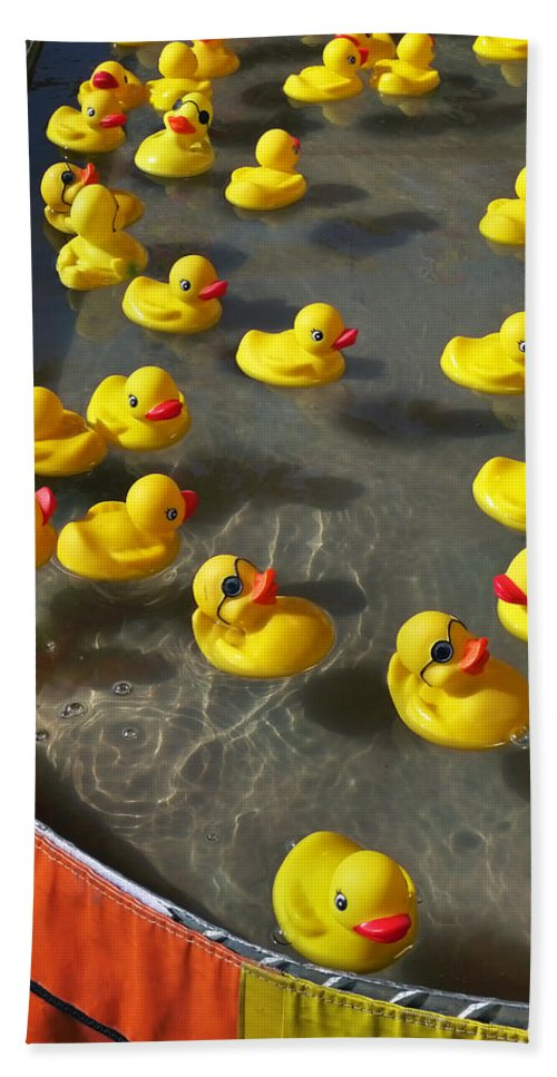 Duckies Bath Sheet featuring the photograph Duckies by Skip Hunt