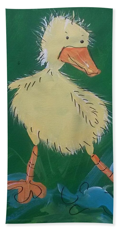 Duck Hand Towel featuring the painting Duckling 3 by Terri Einer