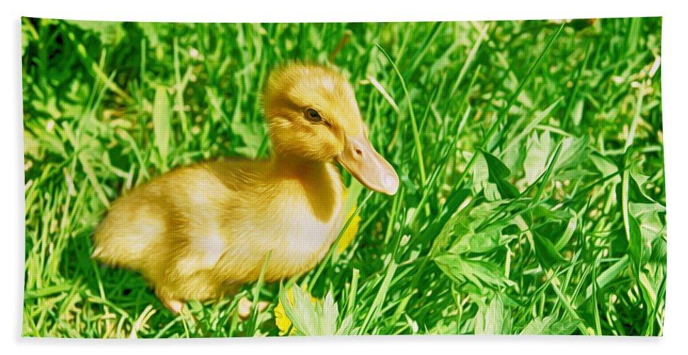 Duckling Bath Sheet featuring the painting Duckling by Tatiana Tyumeneva