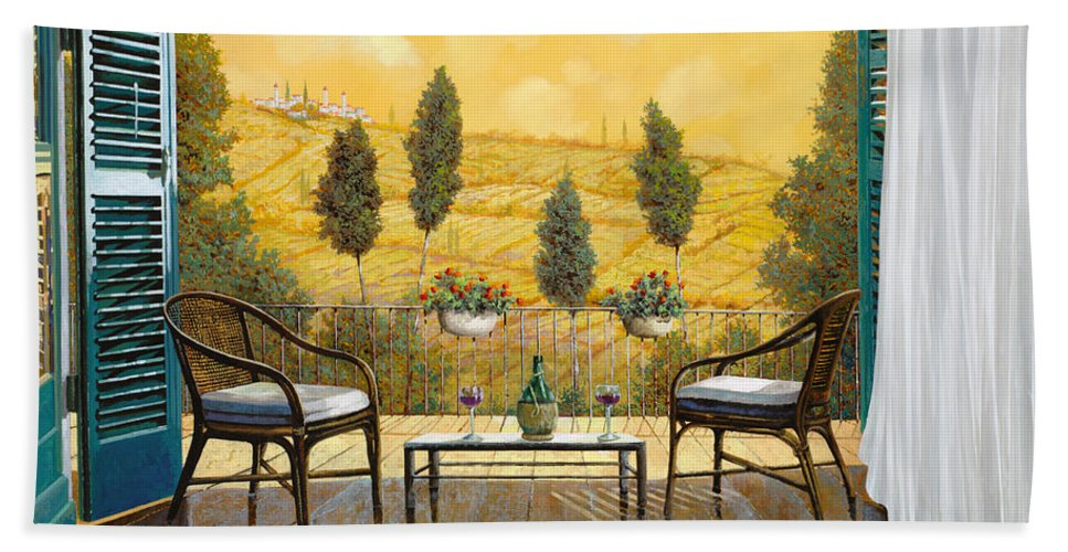 Terrace Hand Towel featuring the painting due bicchieri di Chianti by Guido Borelli