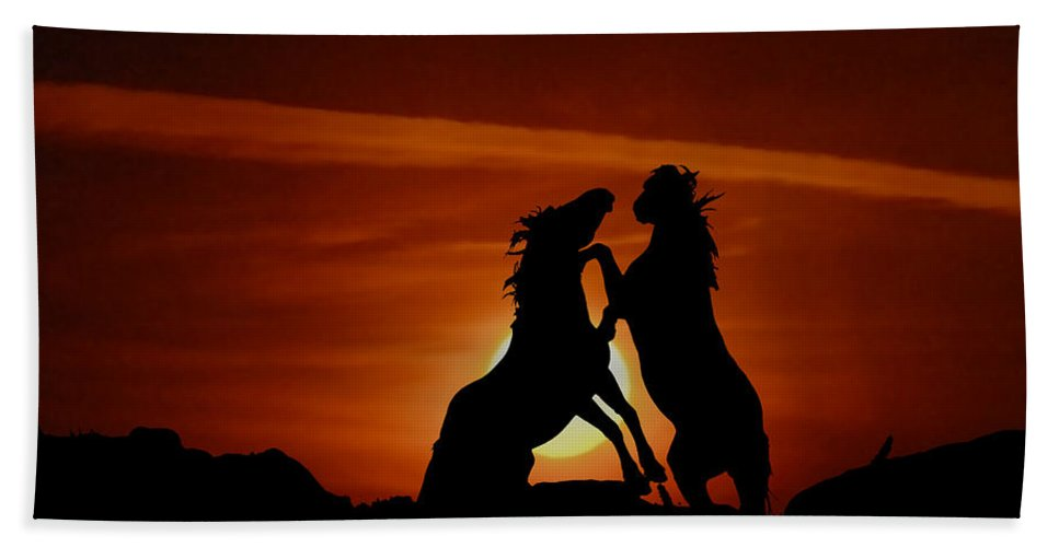 Mustangs Hand Towel featuring the photograph Duel At Sundown by Gary Beeler