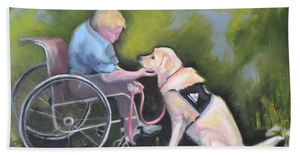 Dog Hand Towel featuring the painting Duet by Susan A Becker