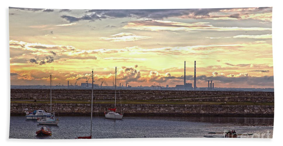 Dun Laoghaire Hand Towel featuring the photograph Dun Laoghaire 40 by Alex Art and Photo