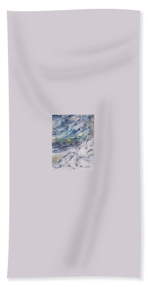 Seascape Hand Towel featuring the painting Dunes 2 Seascape Painting Poster Print by Derek Mccrea