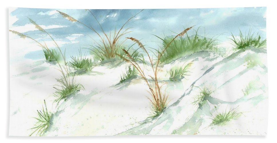 Beach Hand Towel featuring the painting Dunes 3 seascape beach painting print by Derek Mccrea